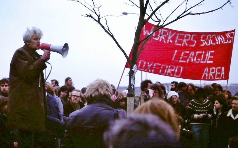 E. P. Thompson at 1980 protest rally